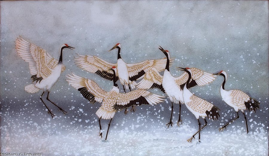 Artwork >> Tonglu Zhang >> Red-Crowned Cranes