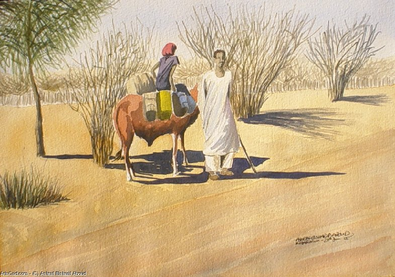 Artwork >> Ashraf Elsharif Aboud >> Getting Water With An Ox