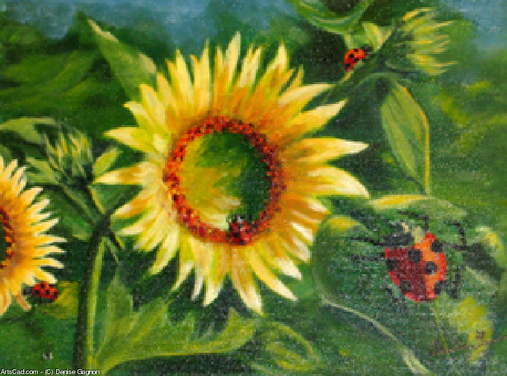 Artwork >> Denise Gagnon >> Sunflowers up and  Ladybugs