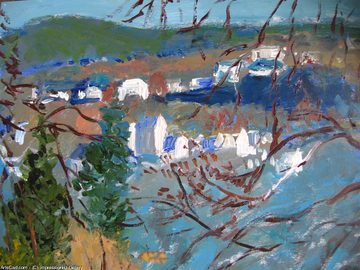 Artwork >> Impressionist Gallery >> village through trees
