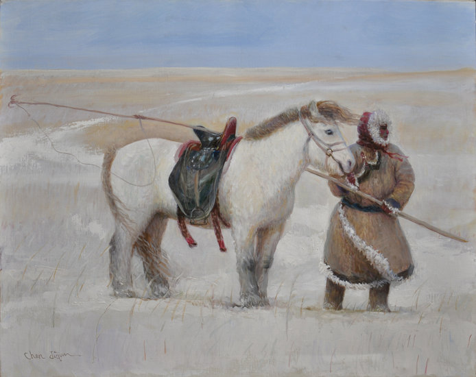 Artwork >> Jiqun Chen >> UJUMCHIN HERDSMAN  IN WINTER PASTURE
