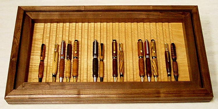 wooden pen display case