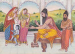 Classical Indian Art Gallery - RAJ GURU BLESSING CHILD KRISHNA