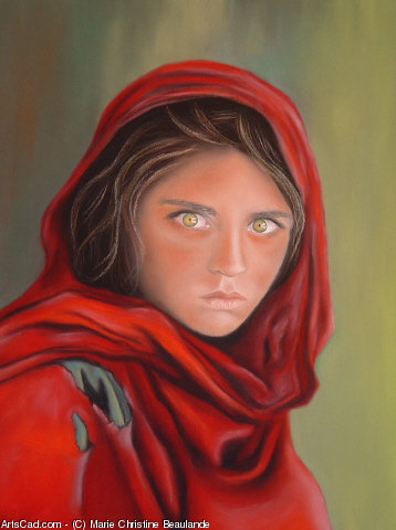 Artwork >> Marie Christine Beaulande >> L'AFGHANE THE GREEN EYES