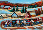 Carole Spandau - POND HOCKEY GAME IN THE COUNTRY
