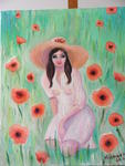 Regard Sur Une Oeuvre - girl the  Poppies in