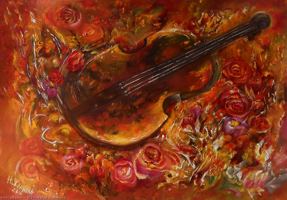 Artwork >> Natalya Zhdanova >> Still life with violin and roses