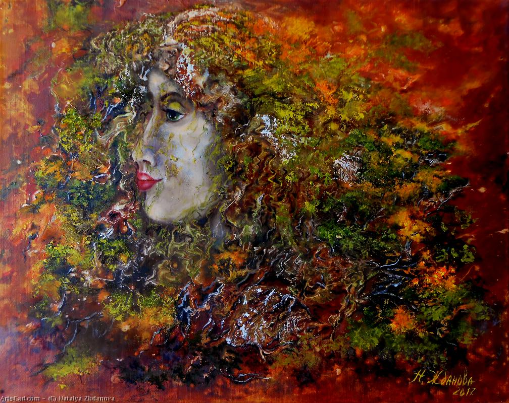 Artwork >> Natalya Zhdanova >> contemporary painting forest spirit in surreal style