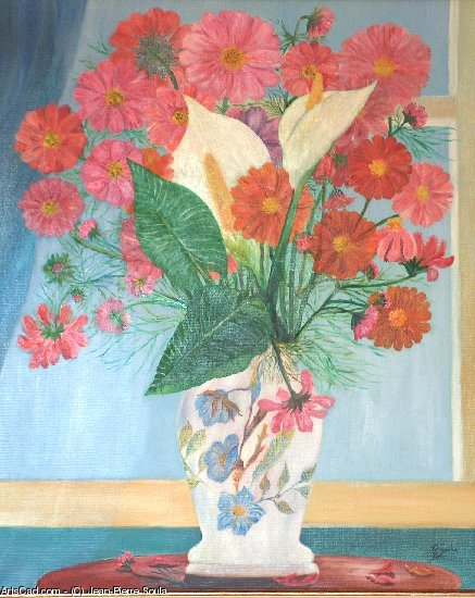 Artwork >> Jean-Pierre Soula >> Lilies and cosmos