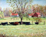 Richard T Pranke - Cows grazing in one field_Vaches scavenging through champs_sold