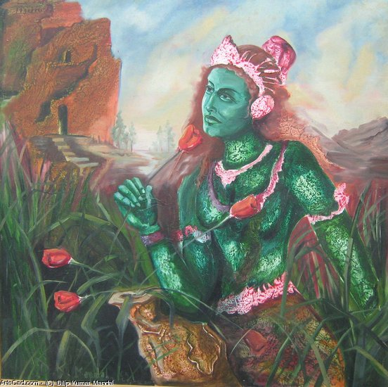Artwork >> Dilip Kumar Mandal >> a lady hold a flower in front of casttle