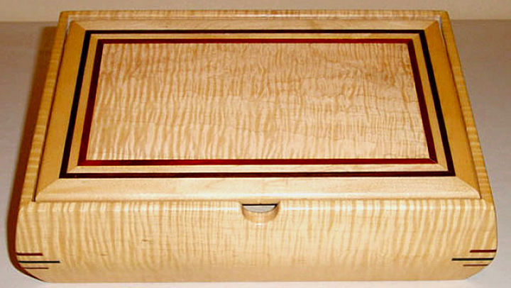 Artwork >> Johnny J W Morlan >> Custom Made Curly Sugar Maple Wood Jewelry Box