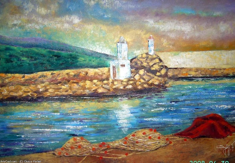 Artwork >> Ouaza Ferhat >> Entrance to the harbor tigzirt , Kabylie ( Algeria )