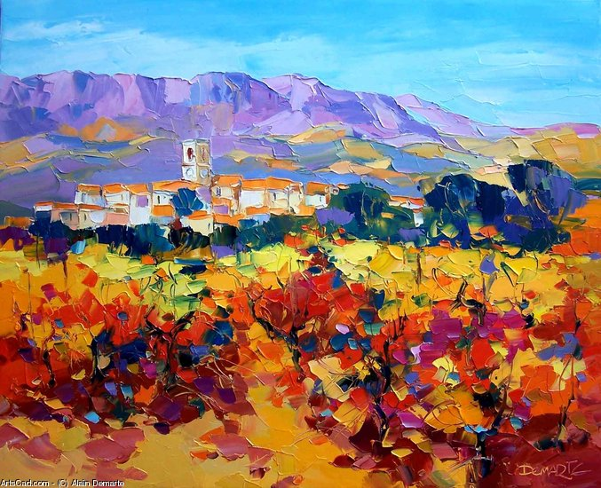 Artwork >> Alain Demarte >> Dans les vignes up in  fall