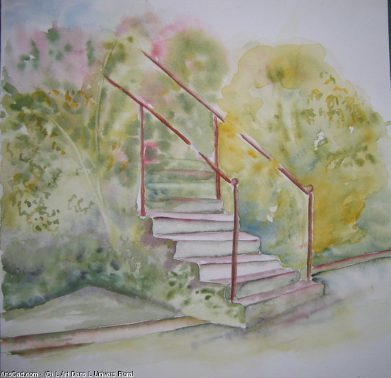 Artwork >> L Art Dans L Univers Floral >> The Staircase a out the garden