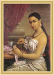 Classical Indian Art Gallery - LADY MAKING A GARLAND