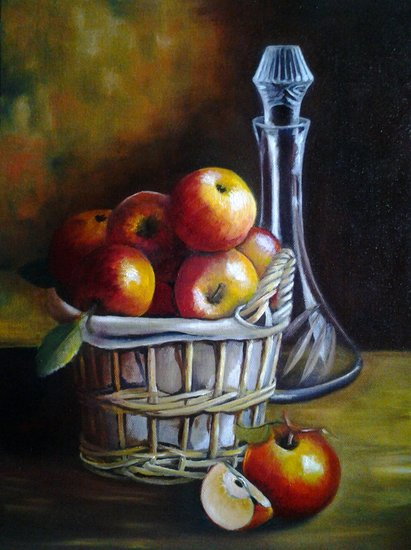 Artwork >> Joelle Beuscart >> Basket of apples and jug