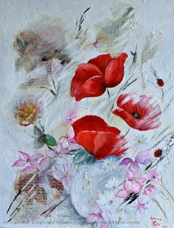 Artwork >> Sylviane Petit >> Poppies at there  ladybug