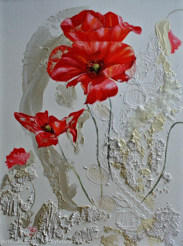 Artwork >> Sylviane Petit >> COQUELICOTS - red balloons