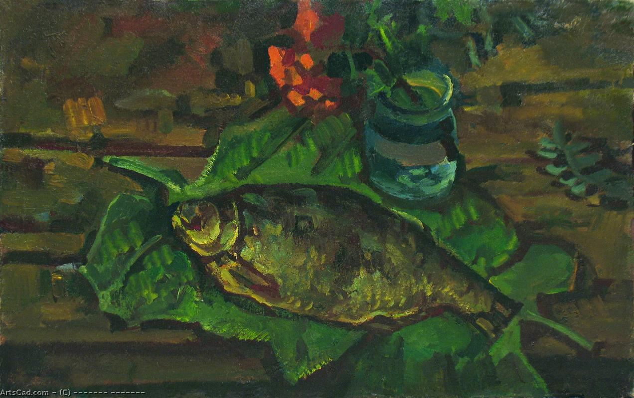 Artwork >> Василий Беликов >> Still life with fish on leaves