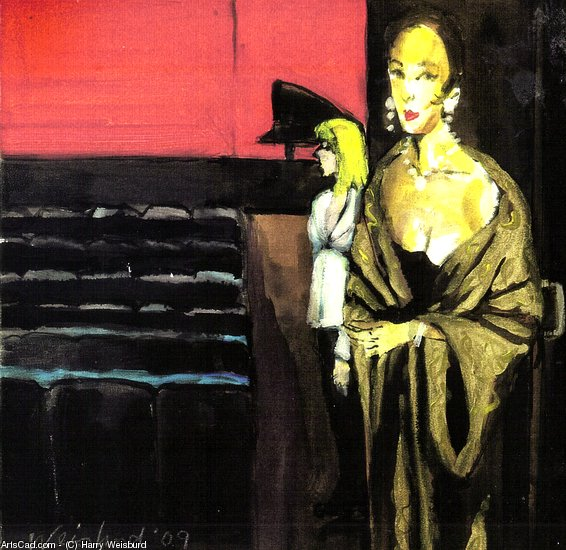 Artwork >> Harry Weisburd >> Woman At Opening Night Theatre