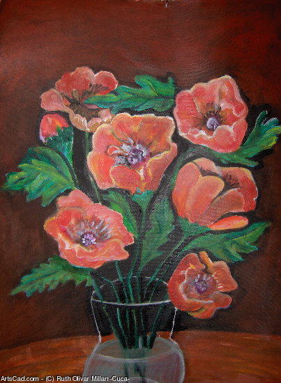 Artwork >> Ruth Olivar Millan - Cuca >> Red Poppies by Ruth Olivar Millan