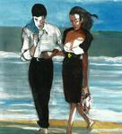 Harry Weisburd - Couple on Beach in Black White Clothes