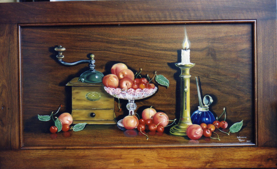 Artwork >> Sylviane Petit >> Still Life at the  mill  at  caffe  up and  fruit