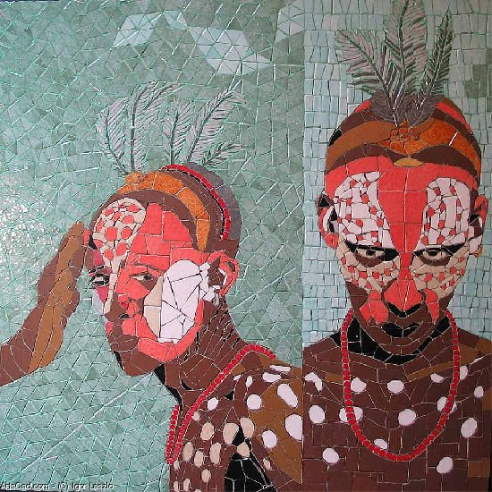 Artwork >> Igor Laszlo >> Warriors from  there  river  Ethiopian omo