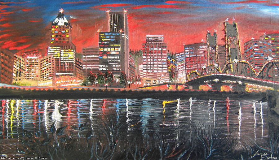 Artwork >> James E. Dunbar >> Portland City Lights