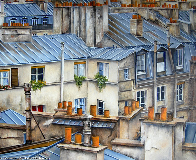 Artwork >> Marie-Claire Houmeau >> Rooftops of The paris N° 8