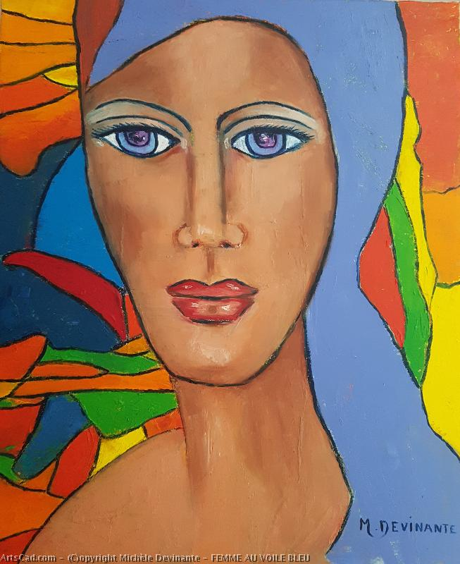 Artwork >> Michèle Devinante >> WOMAN veil  with blue