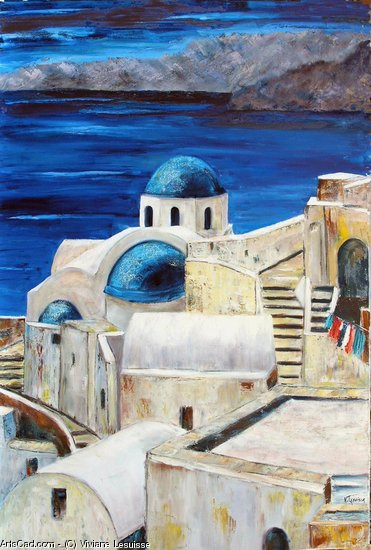Artwork >> Viviane Lesuisse >> Santorini , greek