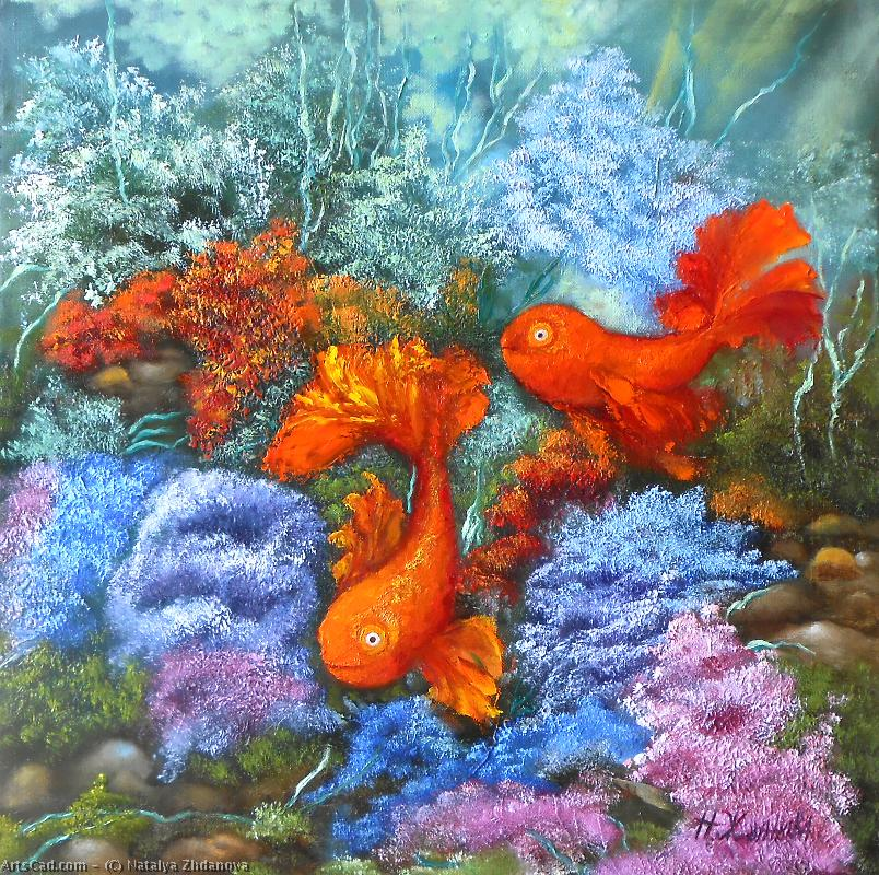 Artwork >> Natalya Zhdanova >> two gold fishes original oil painting in handmade on canvas