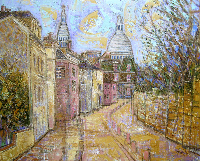 Artwork >> Aimé Venel >> The paris , rue des saules in montmartre