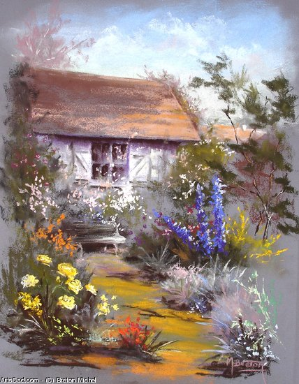 Artwork >> Breton Michel >> home place in  out the  garden