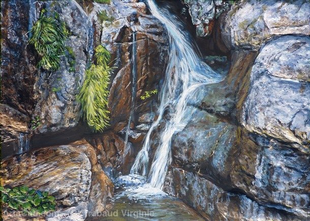 Artwork >> Trabaud Virginie >> cascading up and  river  from  Corsica