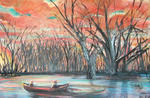Abellalisa Artist - Romantic Boat River Sunset Painting