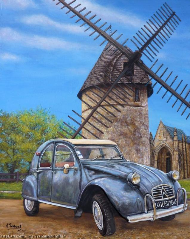 Artwork >> Trabaud Virginie >> 2cv  up and  out the  mill  from  vendee