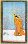 Classical Indian Art Gallery - A LADY WITH PIGEONS (Kangra Miniature)