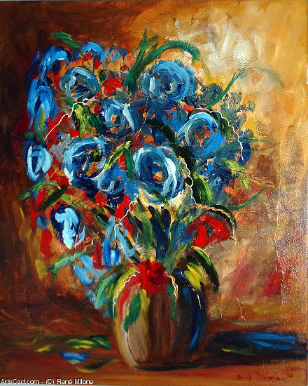 Artwork >> René Milone >> Blue Flowers