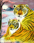 Zhen Lianxiu - mother and child tigers