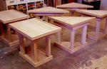 Johnny J W Morlan - Custom Made 4 Isosceles Right Triangle 2 Rectangle 2 Tier Oak Wood End Tables