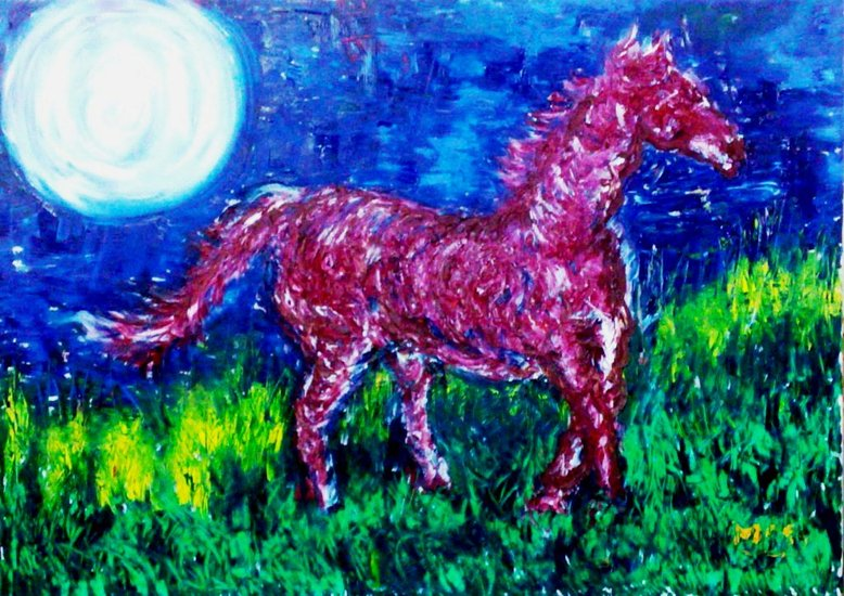 Artwork >> Moses Foresto >> Red Horse and Moonlight