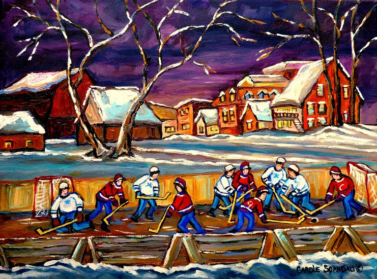 Artwork carole spandau parti de hockey un soir d for Patinoir exterieur montreal