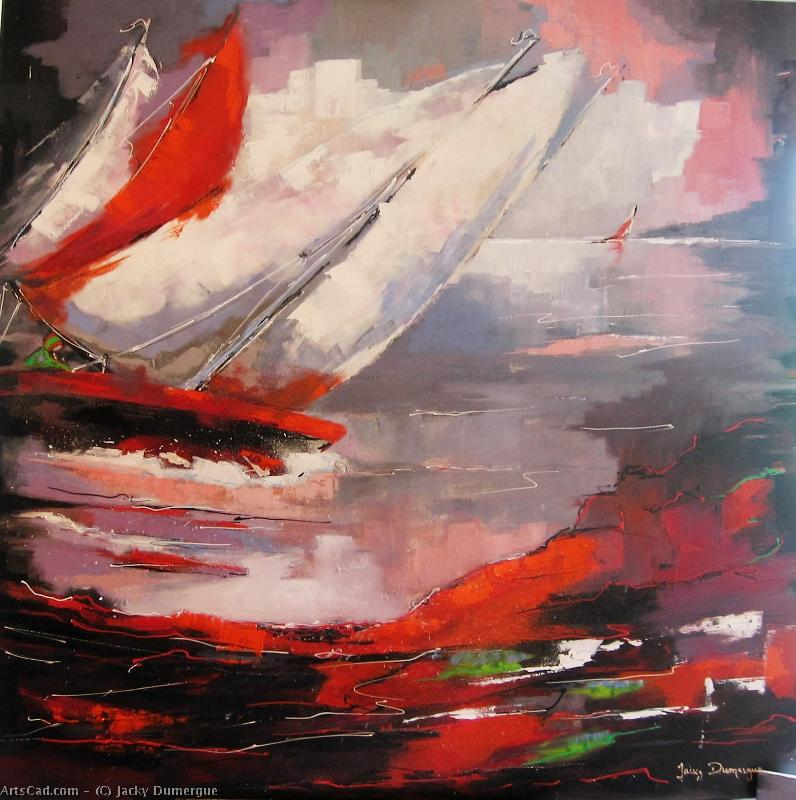 Artwork >> Jacky Dumergue >> arrival of there  regatta