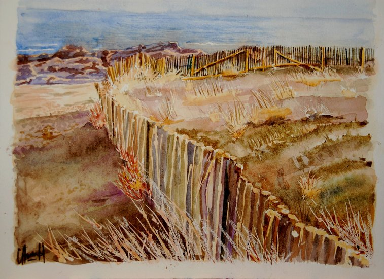 Artwork >> Claude Arcambal >> Barriers from there dune at Batz on sea