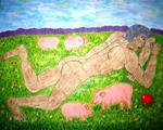 Donskova Svetlana Artblood - PICTURES BY OWN BLOOD. BOY lying on the grass.
