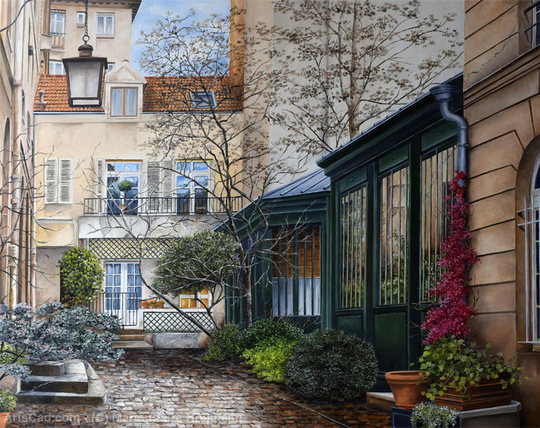 Artwork >> Marie-Claire Houmeau >> Courtyard in the Marais - Paris