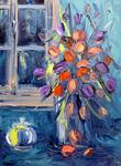 Gebo Peinture Au Couteau - FLOWERS TEAPOT and